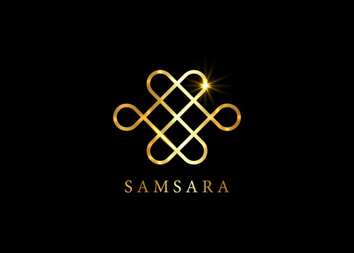 Gold Samsara icon. Guts of Buddha, The bowels of Buddha. The Endless knot or Eternal knot, happiness node, symbol of inseparability and dependent origination of existence and all phenomena in Universe