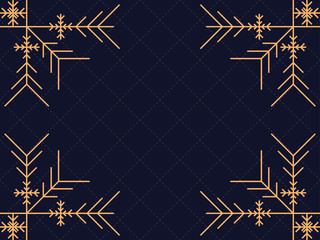 Art deco frame with snowflakes. Vintage linear border.Style of the 1920s and 1930s. Vector illustration Fotomurales