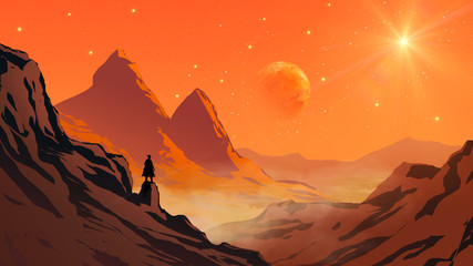 Fotobehang Koraal Cowboy silhouette standing on mountain rock valley landscape with planet and star on sky. Elements furnished to NASA