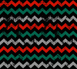 Seamless vector zigzag pattern. Abstract minimalistic ornament with elements in Christmas color. Simple flat repeating texture for textile, paper or digital background