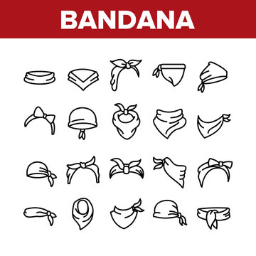 Bandana Hats Collection Elements Icons Set Vector Thin Line. Bandana Windy Hair Dressing, Headband For Woman Hairstyle, Cowboy Face Mask Concept Linear Pictograms. Monochrome Contour Illustrations
