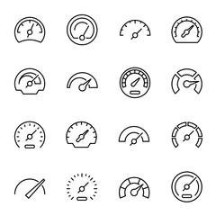 Speedometers with arrows linear vector icons set