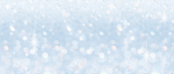 Winter christmas sparkling shiny silver bright glittering abstract bokeh background Wall mural