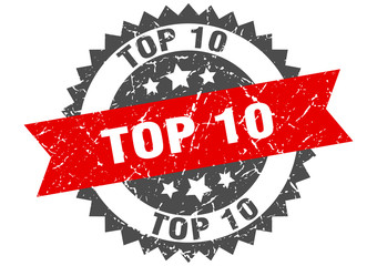 top 10 grunge stamp with red band. top 10