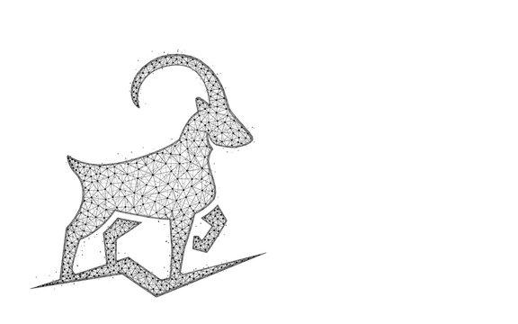 Ibex polygonal vector illustration
