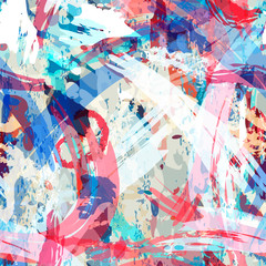 In de dag Graffiti Abstract seamless pattern with bright elements of lines, spots for your creative ideas. A nice template can be used to design tiles, fabrics, textiles, decor, covers, wallpapers