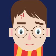 Harry Potter, illustration, vector on white background.