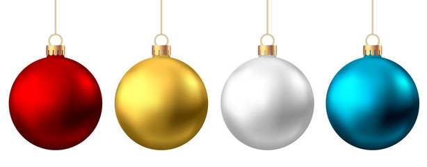 Fotomurales - Realistic  red, gold, silver, blue  Christmas  balls  isolated on white background.