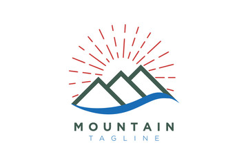Illustration Vector Graphic of Mountain with Sun. Logo and Icon Perfect for Adventure, Travel, Climbing, Exploration, Camping, Tourism, etc.
