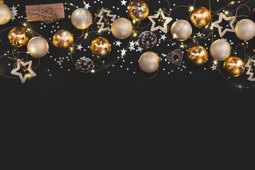 New year 2020. Merry Christmas and Happy Holidays greeting card. Christmas composition. Gold and...