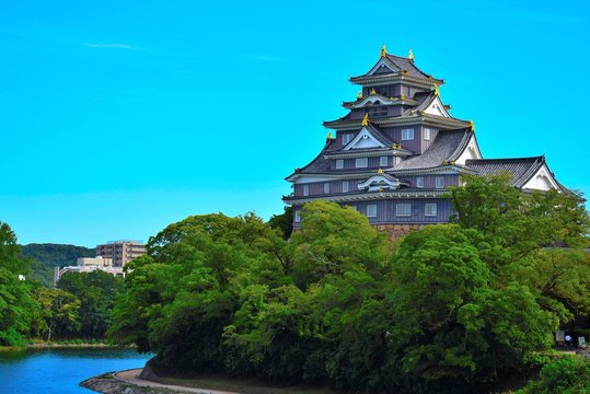 晴天の岡山城
