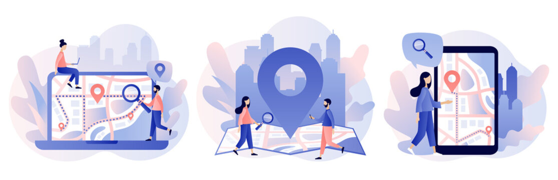 GPS navigation concept. Tiny people search on location. Online map. We have moved. Modern flat cartoon style. Vector illustration