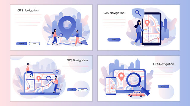 GPS navigation concept. Search on location. Online map. Screen template for mobile smart phone, landing page, template, ui, web, mobile app, poster, banner, flyer. Modern flat cartoon style. Vector