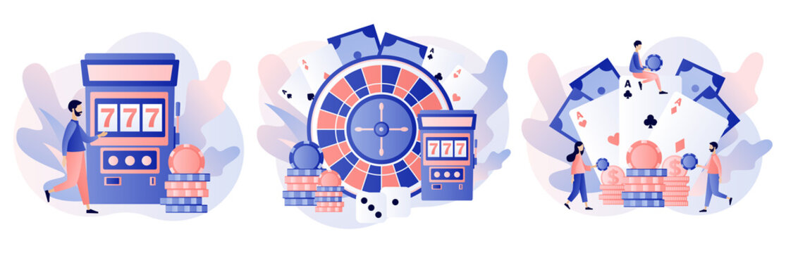 Casino and Gambling Concept. Tiny people gaming gambling games. People play Poker, Roulette, Slot Machine. Modern flat cartoon style. Vector illustration