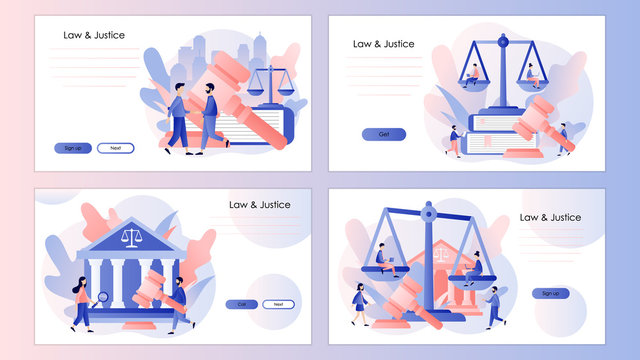 Law and Justice Concept. Justice scales and judge gavel. Screen template for mobile smart phone, landing page, template, ui, web, mobile app, poster, banner, flyer. Modern flat cartoon style. Vector
