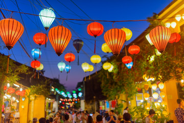Awesome evening view of street decorated with lanterns, Hoi An