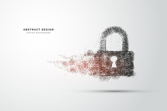 Points are connected and create a sign of the Cyber security concept lock. Technology and network concept. digital internet. Abstract background technology.Vector illustration