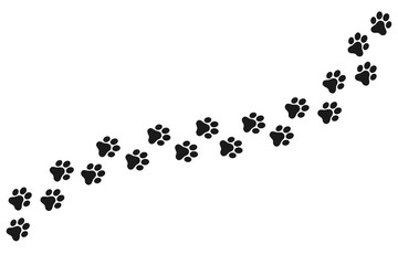 Footpath trail of animal. Dog or cat paws print vector isolated on white background. Trail footpath wildlife, footprint silhouette illustration
