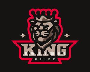 Lion modern mascot logo. King design emblem template for a sport and eSport team.