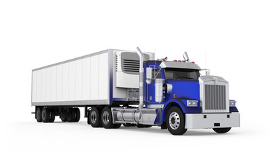 Generic American daily semi truck with refrigerated semi trailer from the front right side, photo realistic isolated 3D illustration on the white background.