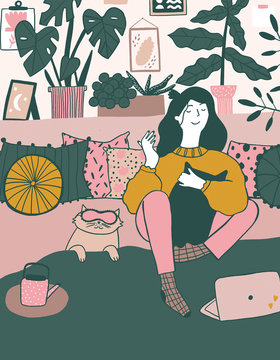 a girl sitting on her bed in her room and watches netflix illustration