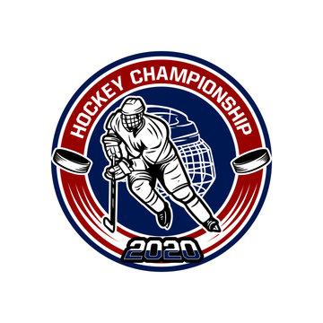 Hockey championship 2020 badge template with hockey player illustration