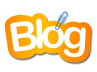 blog label in white background and paper clip