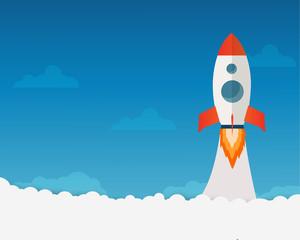 Rocket launch ship flat design vector, start up concept.