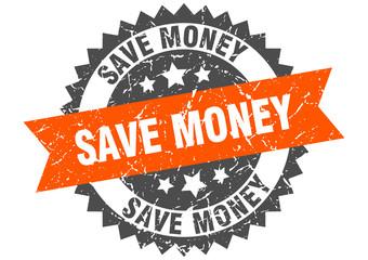 save money grunge stamp with orange band. save money