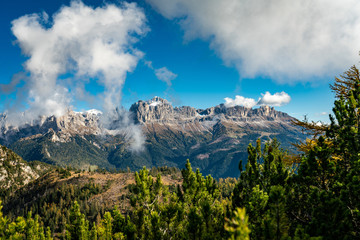 Panoramic view of the Rosengarten alpine mountain group near Tiers in South Tyrol
