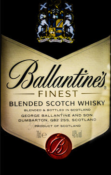 label of the finest blended scotch whisky Ballantines