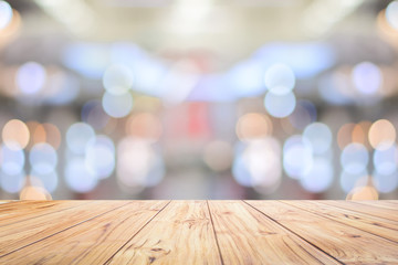 Wood Table Top Counter on bright bokeh interior background with white table top for backdrop design,lights blurred bokeh blurred background for montage product