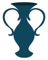 Dark blue vase, illustration, vector on white background.
