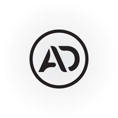 Simple AD Letter logo Vector. AD Letter logo. AD font type logo.