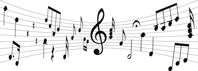 Silhouette of musical score with notes and G clef in middle. Vector musical notes.