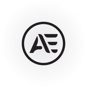 Initial letter mark AE logo Vector. AE Letter logo. AE font type logo.