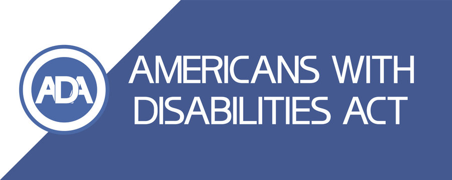 Americans with disabilities act (ADA) Text poster flat illustrative graphic image, blue and white colors.