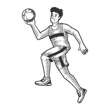 Basketball player with ball sketch engraving vector illustration. T-shirt apparel print design. Scratch board imitation. Black and white hand drawn image.