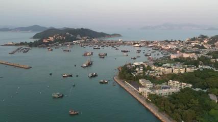 Fotomurales - Aerial view sunset at Cheung Chau of Hong Kong