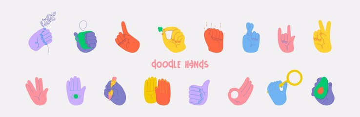 Set of doodle hands. All elements are isolated. Vector illustration. Eps 10.