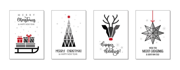 Set of christmas and happy new year greeting cards. Four Vector Illustrations postcards with lettering calligraphy decorative ornament elements Fotomurales