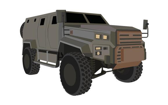 Military armored vehicle illustration