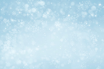 blue winter background with snowflakes Fotobehang