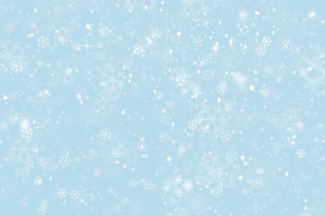 blue winter sky background with snowflakes