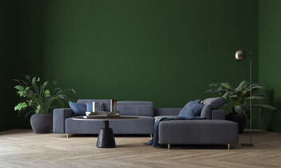 Modern deign of interior living room and green wall pattern texture background