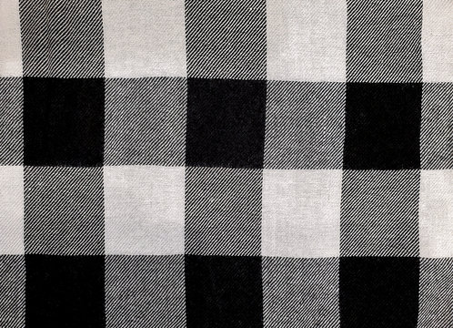 close up of black and white buffalo checked pattern