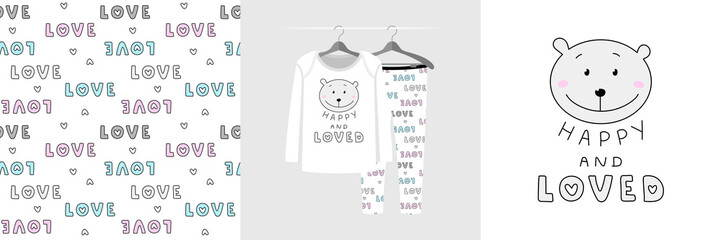 Wall Mural - Seamless pattern and illustration for kid with bear, quote Happy and Loved