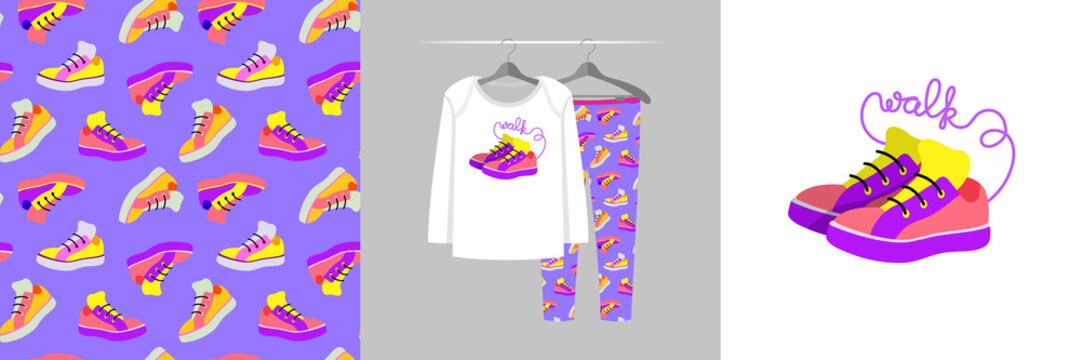 Seamless pattern and illustration for kid with teenage sneaker shoe