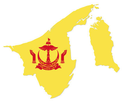simple map of asian state brunei darussalam with coat of arms