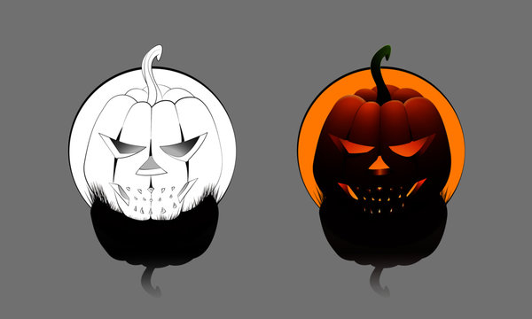 Single Round Halloween Pumpkin in color and outline mode